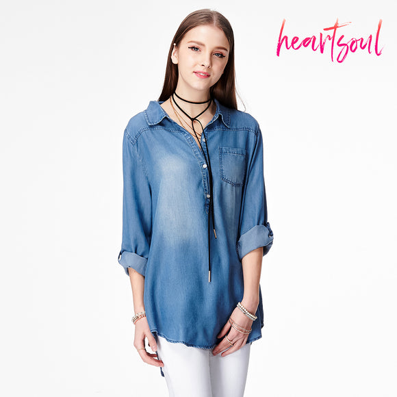 Heart Soul Women's Roll Up Sleeves Crop Tie Top Denim Jeans Shirt