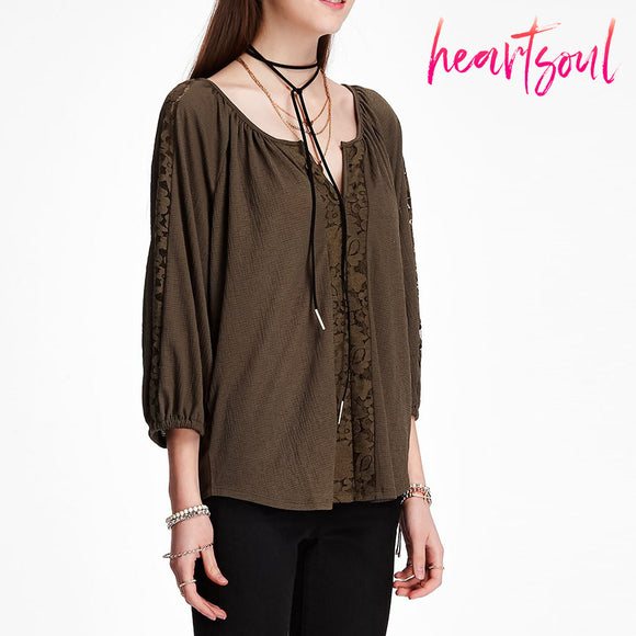 Heart Soul Women's Long Sleeve V Neck Loose Hollow Out Floral Lace Crochet Casual Shirt