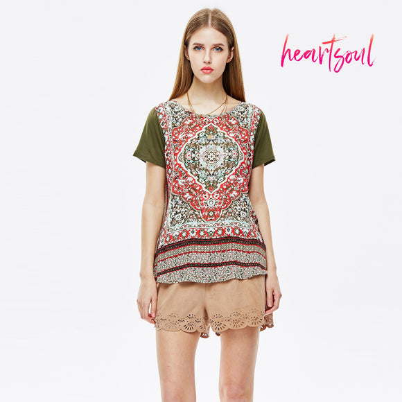 HeartSoul Womens Loose Casual Short Sleeve Shirt BOHO Style Tops Blouse