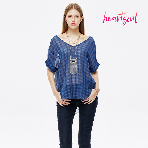 HeartSoul Womens Half Sleeve Tops Casual T-shirt Tunic V Neck Button Blouse