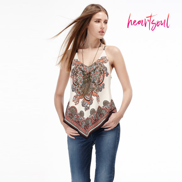 HeartSoul Womens Loose Casual Printed Tank Top with Irregular Hem
