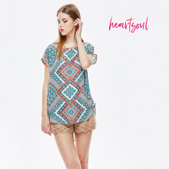 HeartSoul Women's Round Neck Blouse Short Sleeve Casual Tee Shirts Tunic Tops