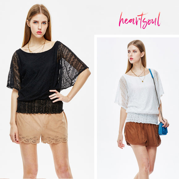 HeartSoul Womens Casual See Through Loose Blouses Boat Neck Sleeve Tops Shirts