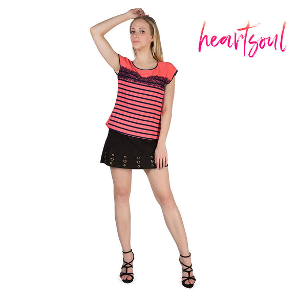 Heart Soul Women Tops Tees Summer Lace Patchwork Short Sleeve Striped T-shirt