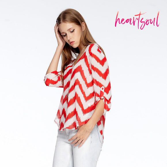 Heart Soul Women Summer Blouse Tops Red And White Striped Shirts V-neck Elegant Half Sleeves Chiffon Blouse