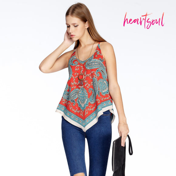 HeartSoul Womens Low Neck Pattern Print Tank Tops Flowy Top Casual Blouse Sleeveless Shirt