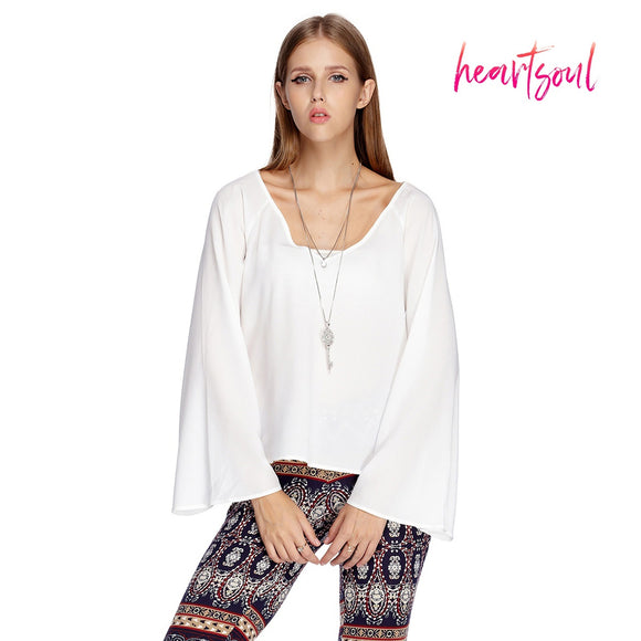 HeartSoul Women¡¯s Long Bell Sleeve Blouse Loose T-Shirt Casual Tops