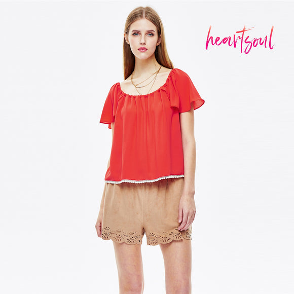 HeartSoul Women's Loose Casual Sleeve Top T-Shirt Blouse