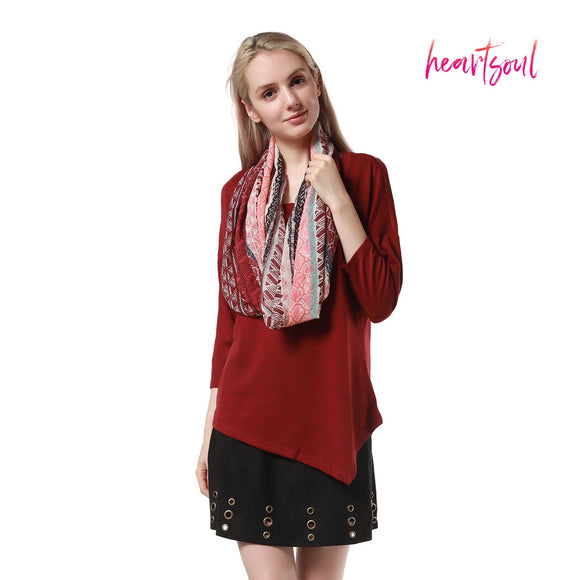 HeartSoul Women's 3/4 Sleeve Scoop Neck Loose Casual Tee T-Shirt Tops With Scarf