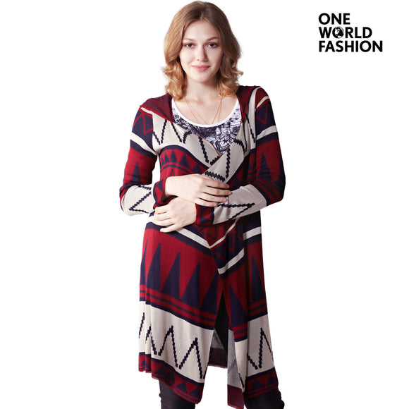 OneWorld Womens Open Front Draped Tribal Printed Geometric Stripe Basic Designed Long Sleeves Knitted Cardigan