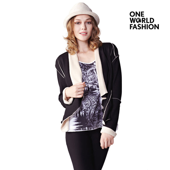 OneWorld Womens Fashion Soft Knit Sweater Outwear Open Front Long Sleeve Spliced Cardigans Coat