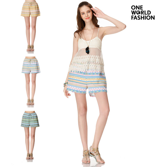 OneWorld Women's Summer Boho Stripe Printed Hot Shorts Pants for Beach