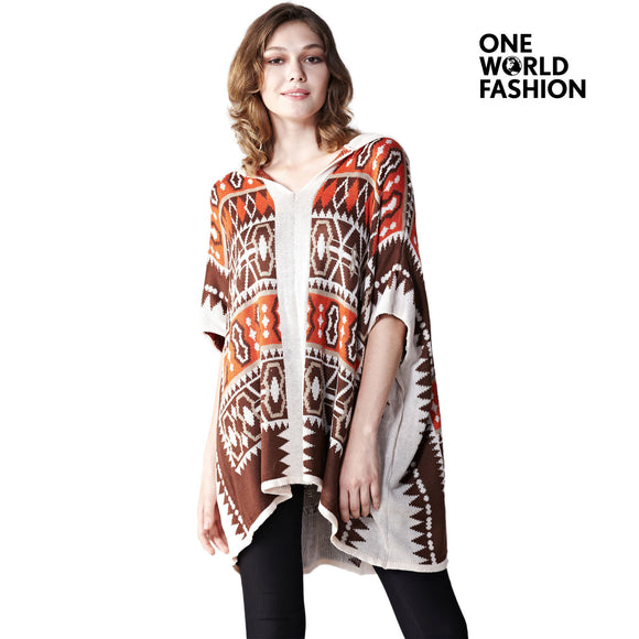 ONEWORLD Womens Printed Geometric Pattern Sweaters Knitted Shawls Hoodies Wraps Cape Pullovers Sweater Top With Draped Plus Size