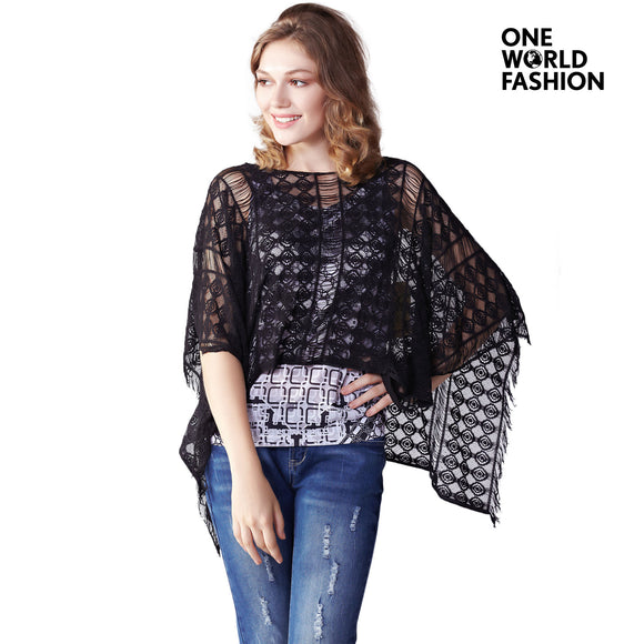 OneWorld Oversize Soft Pullover Womens Knitted Light Weight Batwing Poncho Cape Shawl with Interlayer Tank Inside