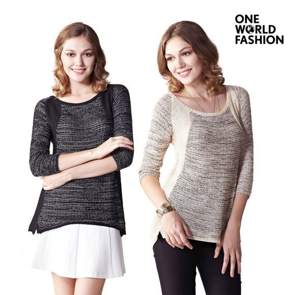 OneWorld Womens Casual Acrylic Long Sleeve Lightweight Elegant Knitted Raglan Tunic Pullover Sweatshirt Fashion Top