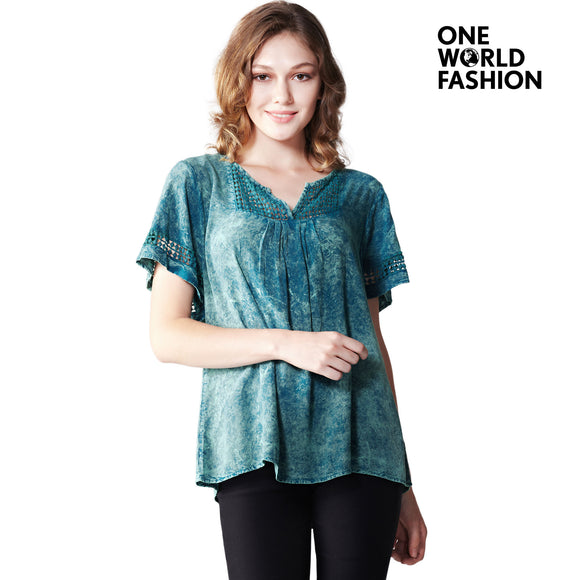 OneWorld Womens Fashion Casual Prasinous V Neck Tunic Printed Pattern Loose T-Shirt Tops