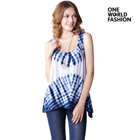 OneWorld Women Rayon Hi Low Sleeveless Tie Dye Scoop Neck Print Pattern Loose Tunic T-Shirt Tops