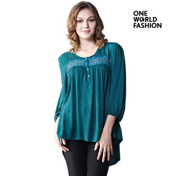 OneWorld Womens Casual Long Sleeve Round Tie Neck Slim Tunic Hollow Pleated Casual Sleeve Lightweight Pullover Blouse Tops