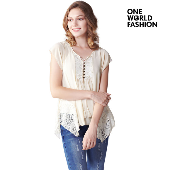 OneWorld Cap Sleeve Summer Tops for Ladies and Women