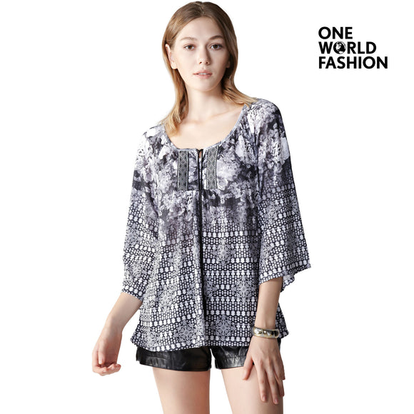 OneWorld Three Quarter Sleeves Scoop Neck Tops in Bohemian Print for Ladies and Women with Tassel Tie