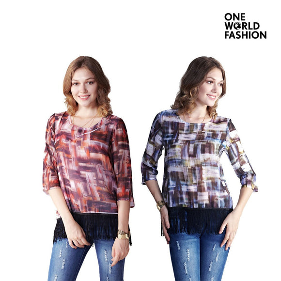 OneWorld 3/4 sleeve O Neck Loose Basic Casual Comfortable Blouse Top with Print