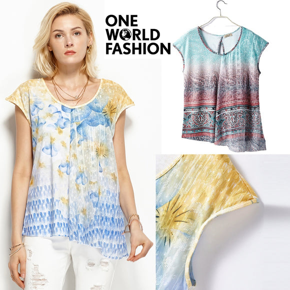 ONEWORLD Plus Size Women Cotton T Shirt Print Tops Summer Short Sleeve Loose Fit Cool Blouse