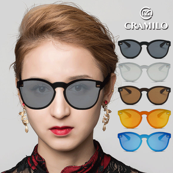 Reflective Mirrored Lens Rimless Wayfarer Sunglasses