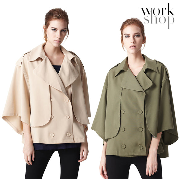 WORKSHOP Women's Stylish Double-Breasted Lapel Long Sleeve Jackets Coats