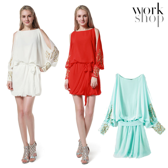 WORKSHOP  Summer Chiffon Ruffle Hem Mini Dress lace up waist Long Sleeve cuff with sequins