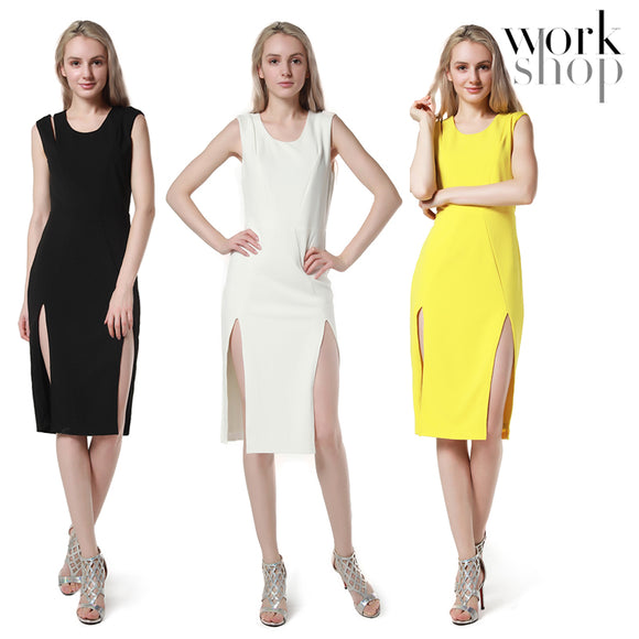 WORKSHOP fashion Women's 2018 Side Split Slim Evening Party Sexy Hem Dress