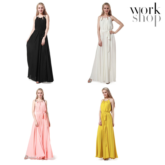 WORKSHOP Sexy Women's Long Dress Lace up waisted maxi dress
