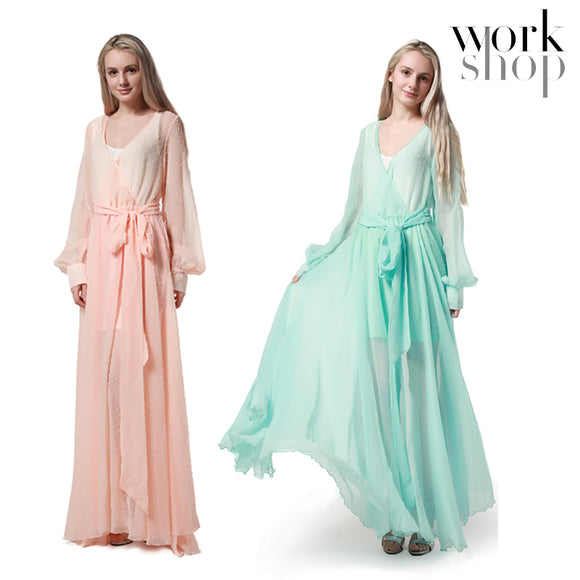 WORKSHOP Summer Women New Fashion Long Sleeve Maxi Dresses Evening Party Prom Dress