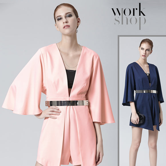 Workshop Womens Sexy Deep V Neck 3/4 Sleeve Casual Dress