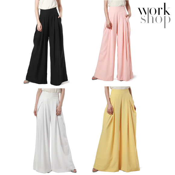 WORKSHOP Wide Leg High Fold Over Waist Palazzo Pants