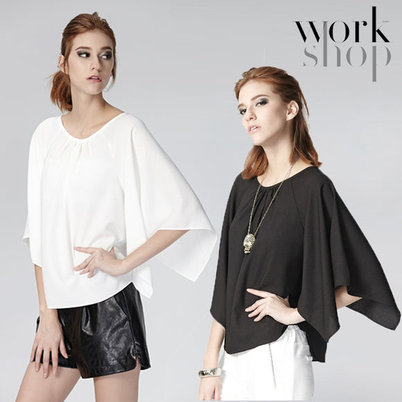 WORKSHOP Women Casual Loose Half Sleeve Ruffled T-Shirt Blouse
