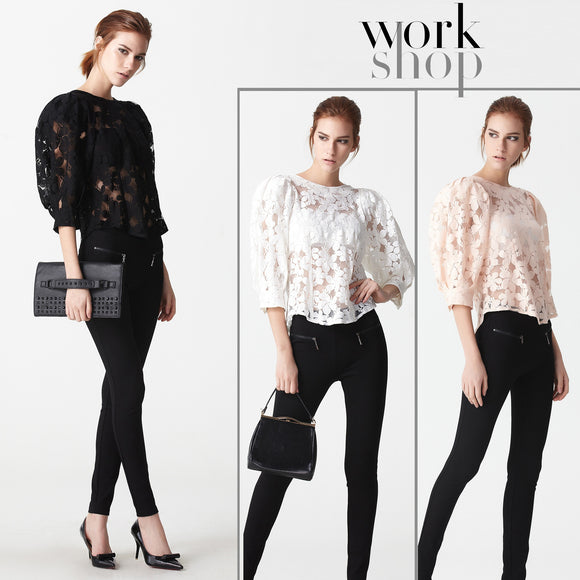 Workshop Women 3/4 Sleeve Sexy Hollow Out Lace Blouse