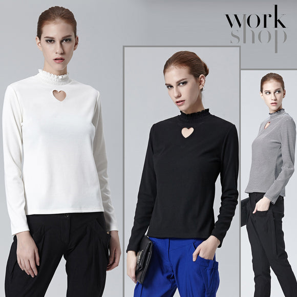 Workshop Women's Long Sleeve High Neck Heart Cut Front Tops