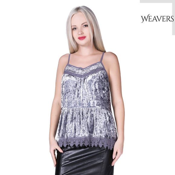Weavers Spaghetti Strap Pleated Chiffon Layered Velvet Party Tank Top Sleeveless Casual Lace Loose for Women