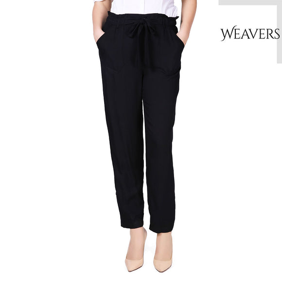 WEAVERS Rayon High Waist Harem Pants Bow Tie Drawstring Sweet Elastic Waist Pockets Casual Trousers