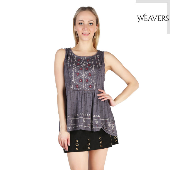 WEAVERS Summer Tank Sleeveless Women Tunic Top Solid Tee Fold O-Neck Loose Sleeveless Ethnic Print Tunic Top Women Vest Tee Shirt Clothing