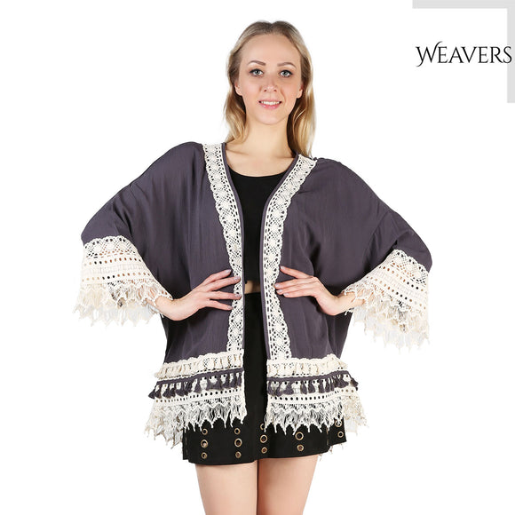 WEAVERS Women Blouse Cape Lace Blazer Jacket Top Blouse Silk Summer Cardigan Lace Cardigan Hippie Kimono Coat