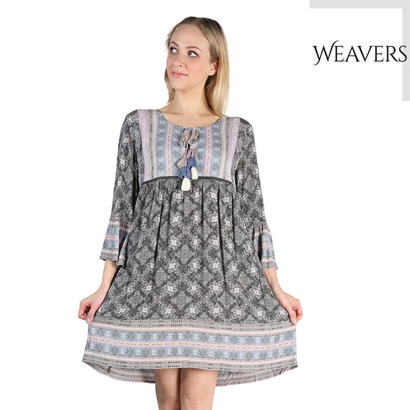WEAVERS Boho Style Summer Women Dress Sexy Deep V Ethnic Floral Print Tunic Beach Dresses Plus Size Casual Silk Dresses