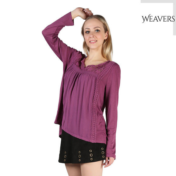 WEAVERS Women Fashion Purple Scoop Neck Ethnic Totem Pattern Embroidered Bordered Blouse