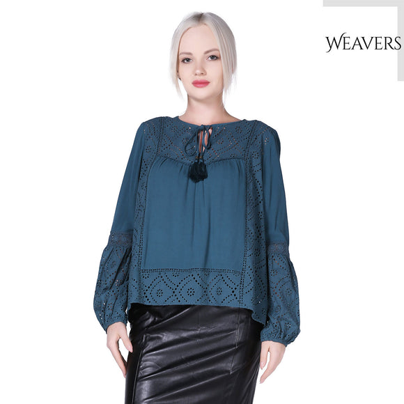 WEAVERS Emerald Loose Sleeves Scoop Neck Ethnic Totem Pattern Lace Embroidered Bordered Tassel Tie Blouse for Women