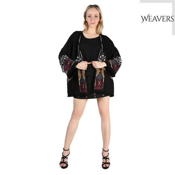 WEAVERS Black Vintage Retro Boho Hippie Lace Casual Chiffon Top Kimono Coat Cape Blazer Jacket for Women