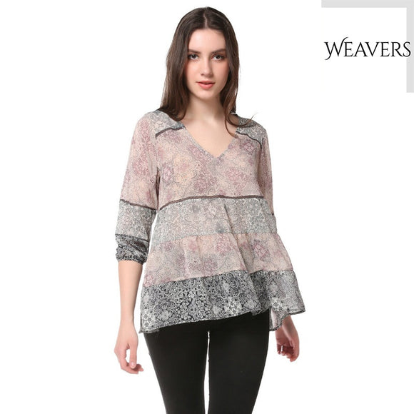 WEAVERS New Fashion Women Floral Printing Tops Long Sleeve Halter V Neck Casual Blouse Shirt