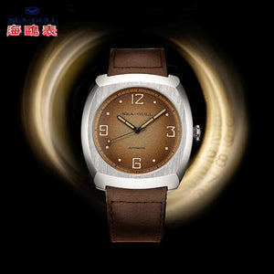 Seagull 44*46mm tonneau dress mechanical watch luminous hands ST25 movement