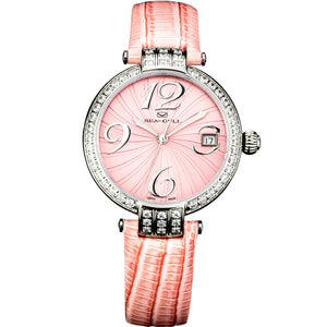 Seagull Rhinestones Bezel Auto Date ST2130 Movement Automatic Mechanical Fashion Watch 719.752L Leather Strap