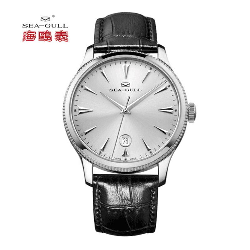 Seagull Ultra Thin 9mm Seagull Coin Edge Case Exhibition Back Self-winding ST18 Movement Date Automatic Men's Dress Watch 819.12.1003