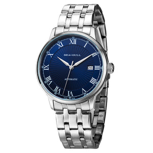 Seagull mechanical wristwatch roman numerals blue dial exhibition case back Seagull ST2130 movement 5029 men's watch